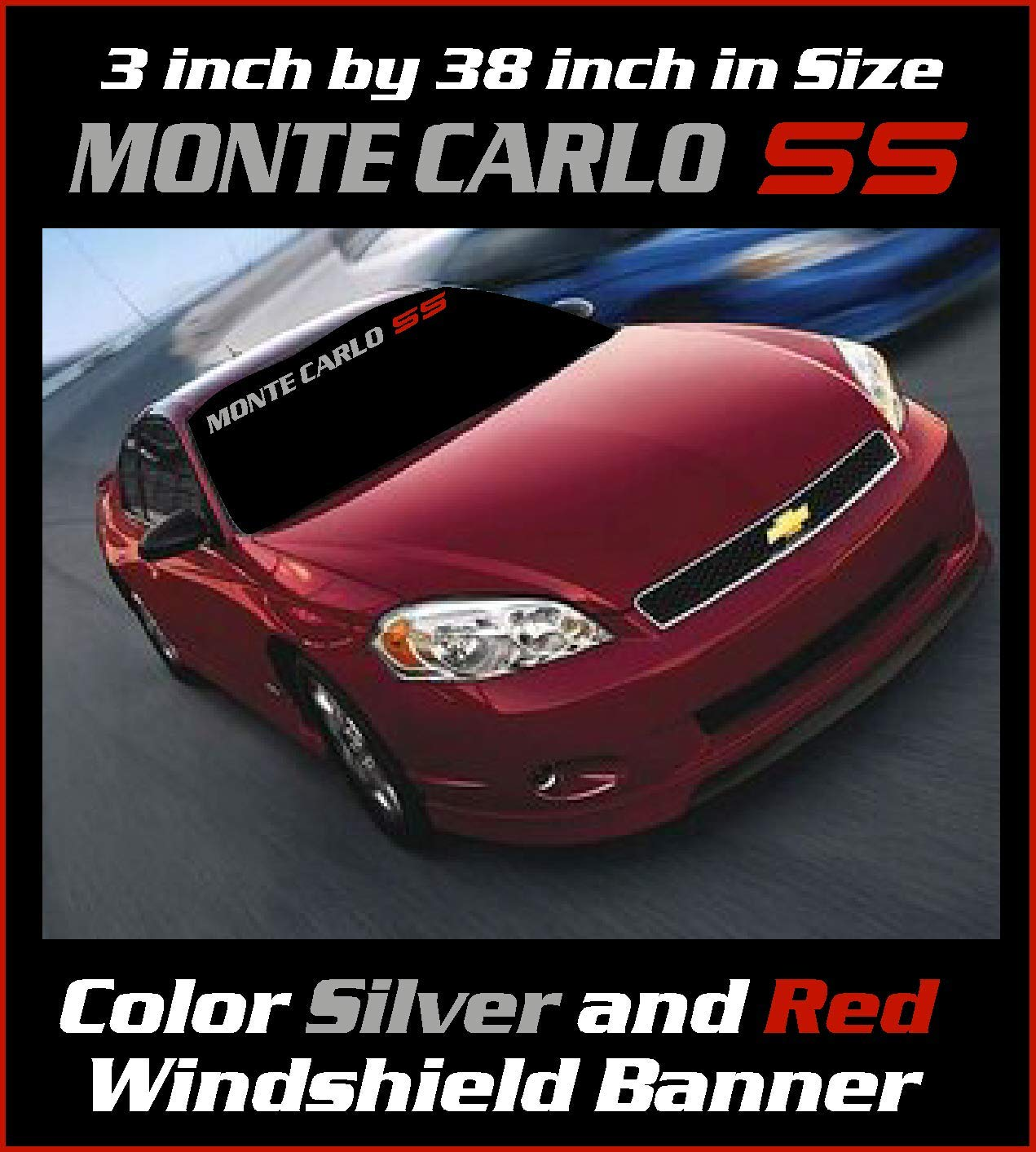 Sticker Emblem 3.5 inch by 38 inch Metallic Silver and Red Monte Carlo SS Windshield Banner Graphic Decal