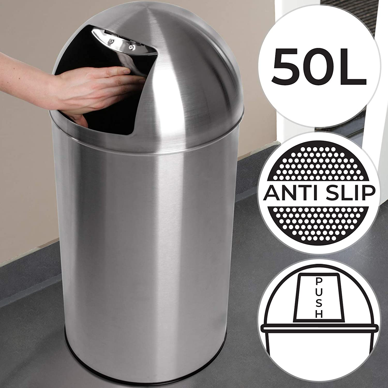 Push Mülleimer - mit Deckel, groß, 19L Volumen, Edelstahl, Push Klappe  poliert, rutschfest, Silber - Retro Abfalleimer, Abfallsammler,  Müllbehälter,