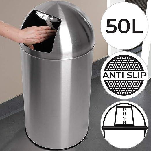 Push Mülleimer mit Deckel, groß, 50L Volumen, Edelstahl, Push Klappe poliert, rutschfest, Silber Retro Abfalleimer, Abfallsammler, Müllbehälter,