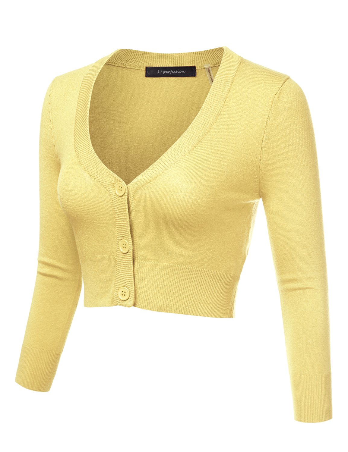 16337807c53598 JJ Perfection Women's Solid Woven Button Down 3/4 Sleeve Cropped Cardigan  BABYYELLOW L < Cardigans < Clothing, Shoes & Jewelry - tibs