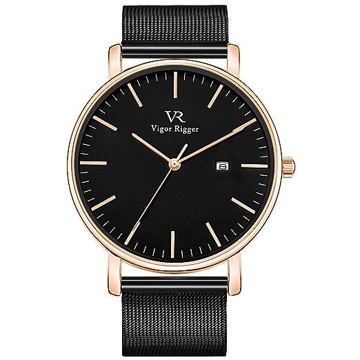 Vigor Rigger Relojes para Hombre Reloj de Movimiento de Cuarzo con dial analógico Negro y Minimalista