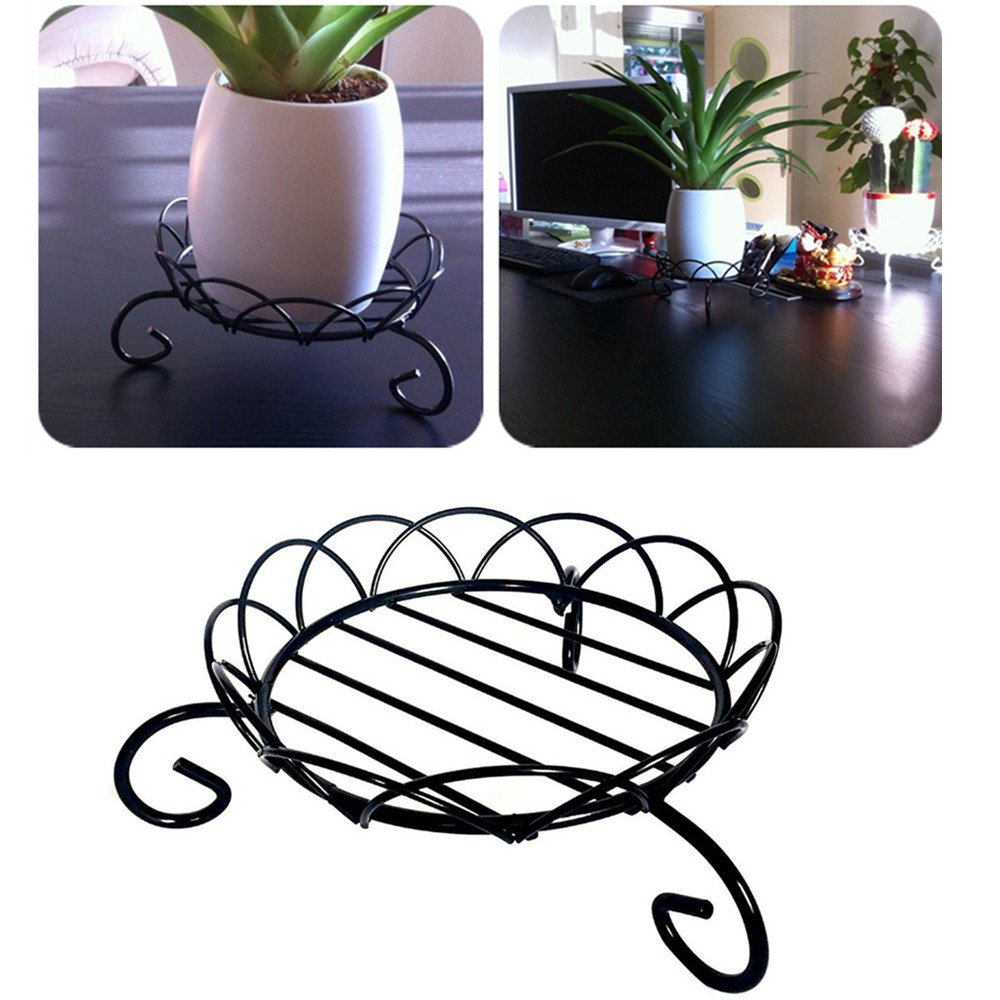 6'' Flower Pot Stand for Outdoor Indoor Planter Holder Metal Iron Plant Pot Rack Holders Floor Flower Pot Rack Black zsl