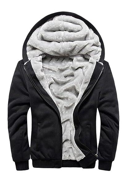 a476ffbd989 Men s Hooded Sweatshirt Full Zip Fleece Tall and Big Thick Jackets Black XS