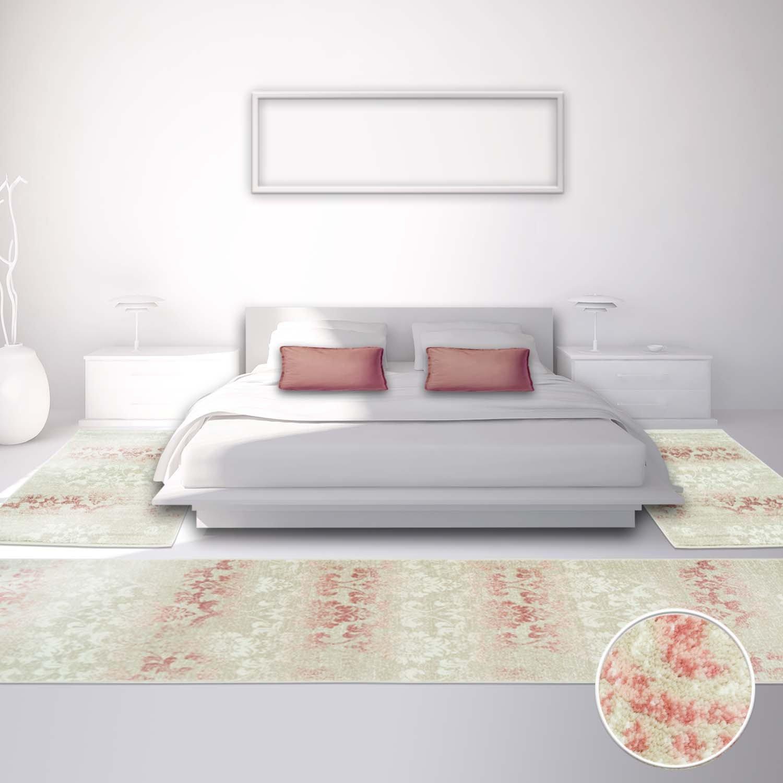 Carpet city Bettumrandung für Schlafzimmer, Flachflor Flachflor Flachflor in PastellRosa mit Klassischen Design Ornamenten-Motiv Florales Muster, 3-teilig  Läufer 2X 80x150 cm, 1x 80x300 cm B01N79J7FA Lufer f87c6a