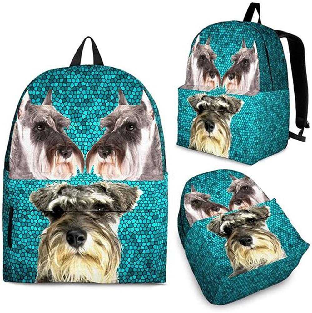 Miniature Schnauzer Print Backpack Set For Kids and Girls