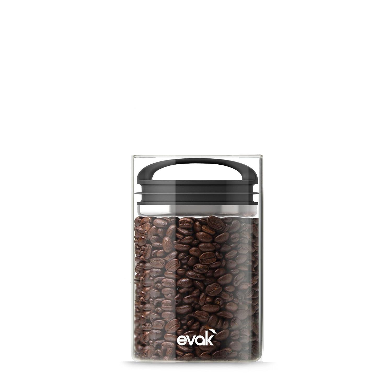 Prepara 3022 Evak Fresh Saver Airless Canister, Glass & Stainless, Black Soft Touch handle, Medium,