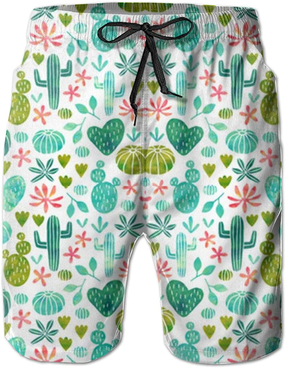 Mens Board Shorts Cacti in Watercolo Holiday Swim Trunks Mesh Lining