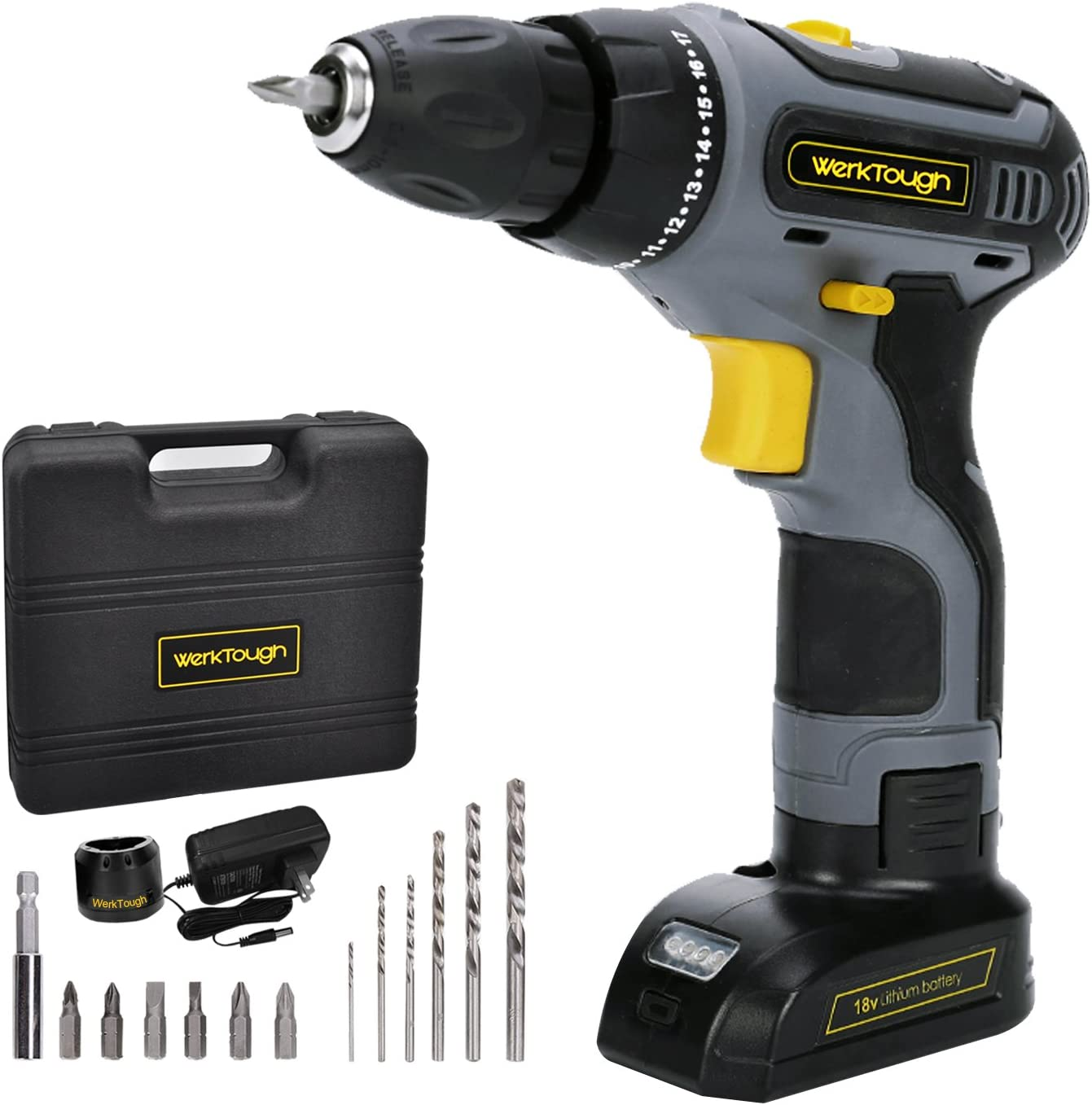 Werktough D011 18V Cordless Drill Driver 2 Viable Speed Powerful Screwdriver Li-ion Battery Accessories