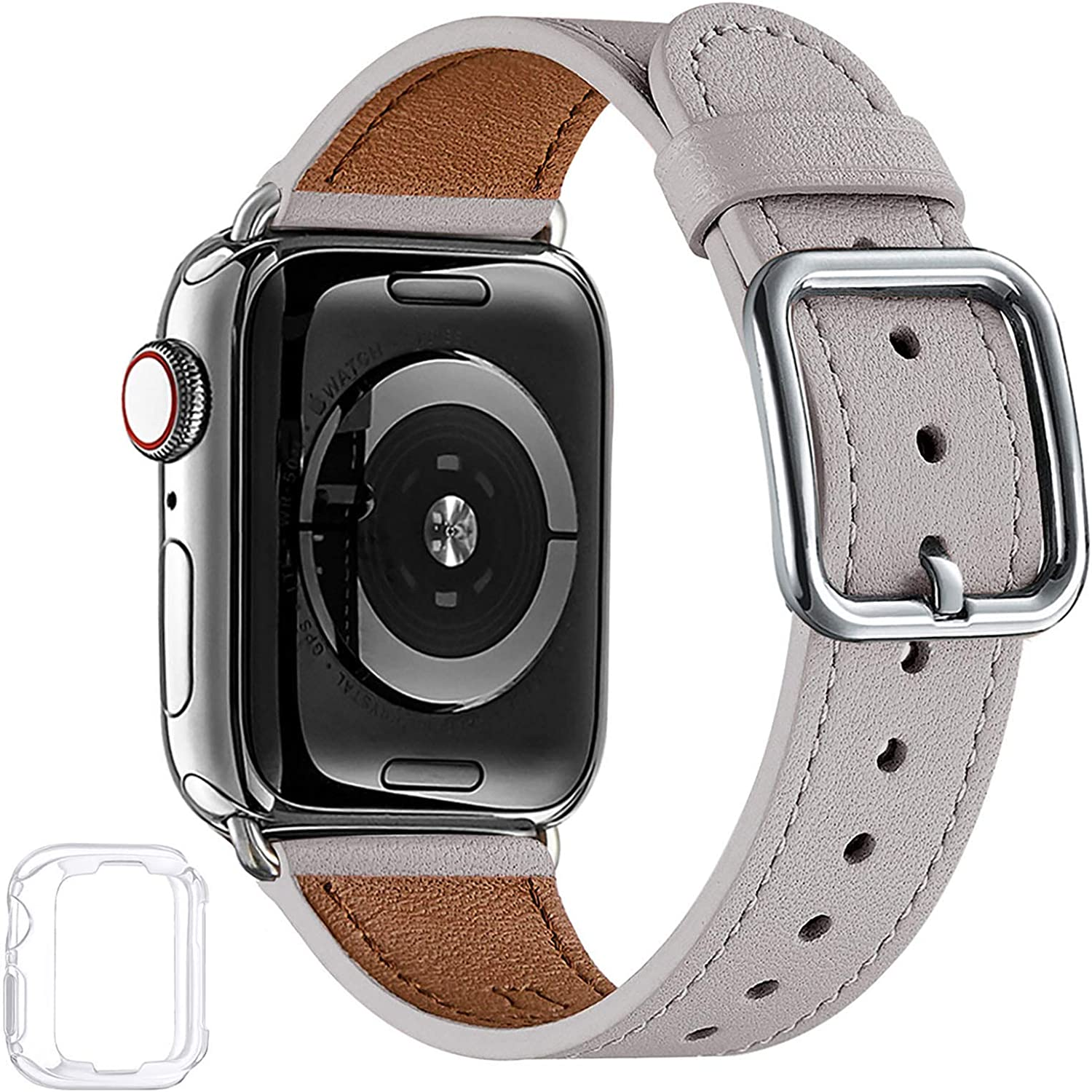 MNBVCXZ Compatible with Apple Watch Band 38mm 40mm 42mm 44mm Women Men Girls Boys Genuine Leather Replacement Strap for iWatch Series 6 5 4 3 2 1 iWatch SE (Light gray/Silver, 38mm 40mm)