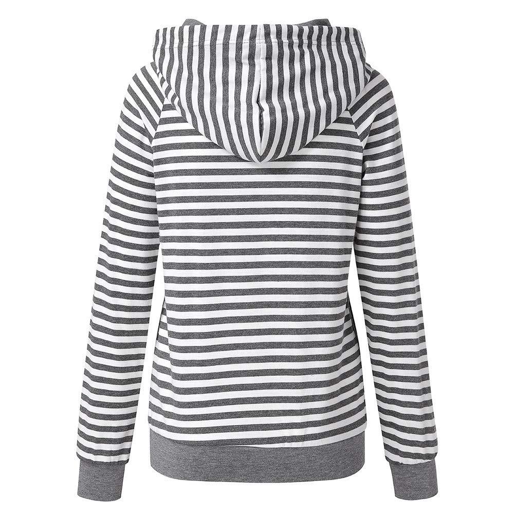 a9d7a7a8ba2 Amazon.com  Oksale Womens Striped Pocket Hoodie Raglan Sleeve Pullover  Hoodie Tops Blouse (Gray