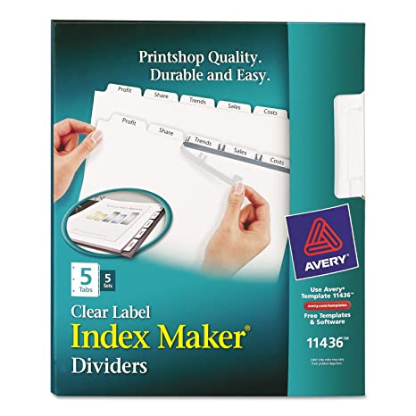 avery 11436 printapply clear label dividers 5 tab 85 x 11