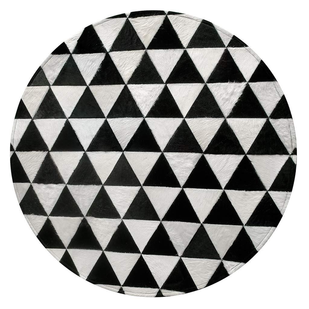 カーペット ラグノルディック白黒幾何学ラウンドカーペットベッドルームコーヒーテーブルテーブルベッドサイドレザースモールフロアマット(様々なサイズ) (サイズ さいず : 1.6m) 1.6m  B07PPDBNNT