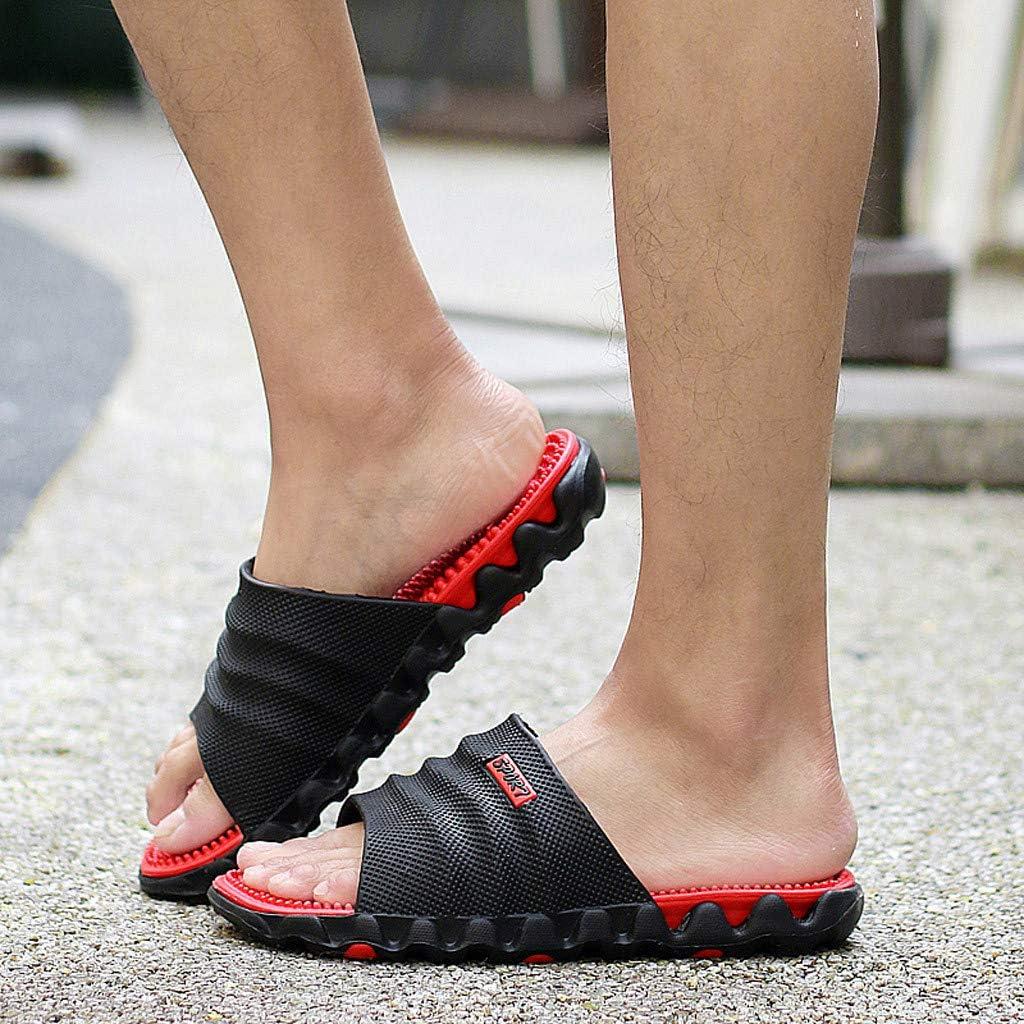 Sumeimiya Mens Shower Bathroom Slippers Summer Outdoor Beach Slides Leisure Massage Health Sandals