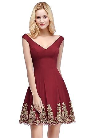 91ba1ffacbb MisShow Women s Bridesmaid A-line Evening Gown Party Dresses Burgundy US2