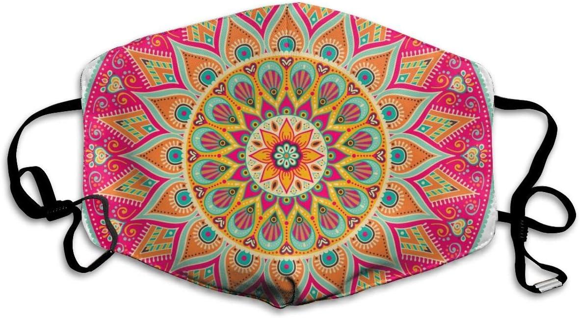 N/A Vector Floral Oriental Coloring Mandala Negro Mascarillas faciales lavables y reutilizables para mujeres, hombres, niñas y niños, para ciclismo, viajes personalizados