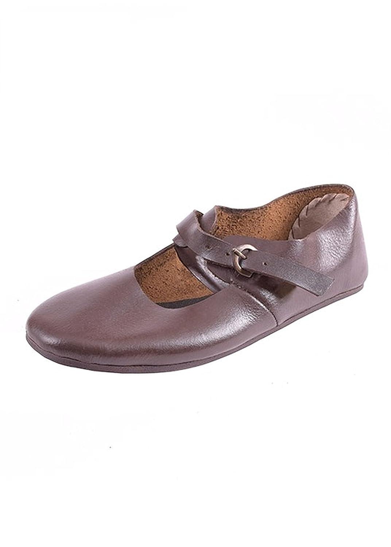Zapatos con hebilla correa de cuero - Zapatos de madera - Madera de zapatos medieval vikingos 41 EU|Marrón - Marrón