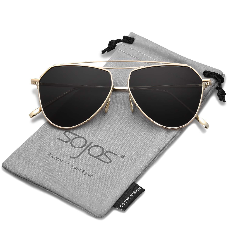 SOJOS Gafas De Sol Mujer Hombre Clásico Doble Flex Memory Puente Metal Lentes Espejo SJ1040 Marco Dorado/Lentes Grises