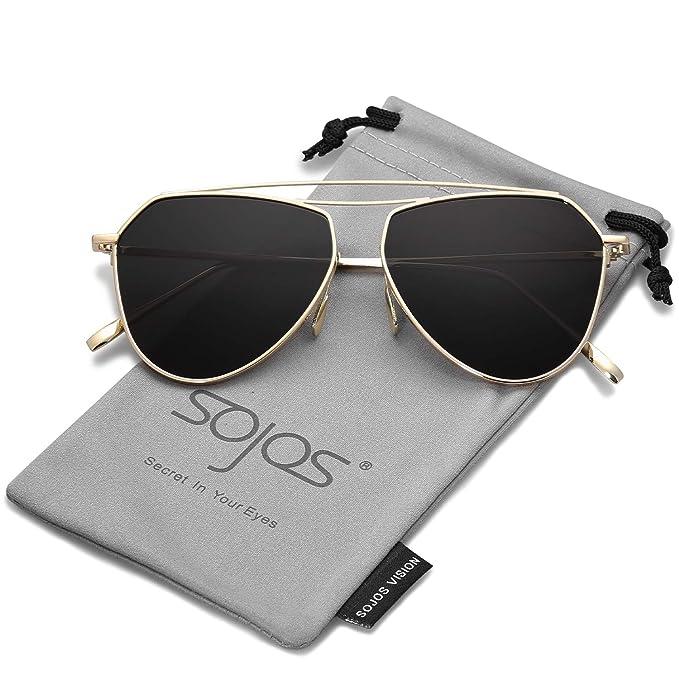 74d0910335 SOJOS Polarized Flat Mirror Lenses Sunglasses Classic Metal Double Bridge  Glasses SJ1040 with Gold Frame
