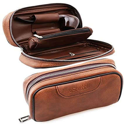 Scotte® leather pipe tobacco pouch case with 2 pipe holder pocket brown