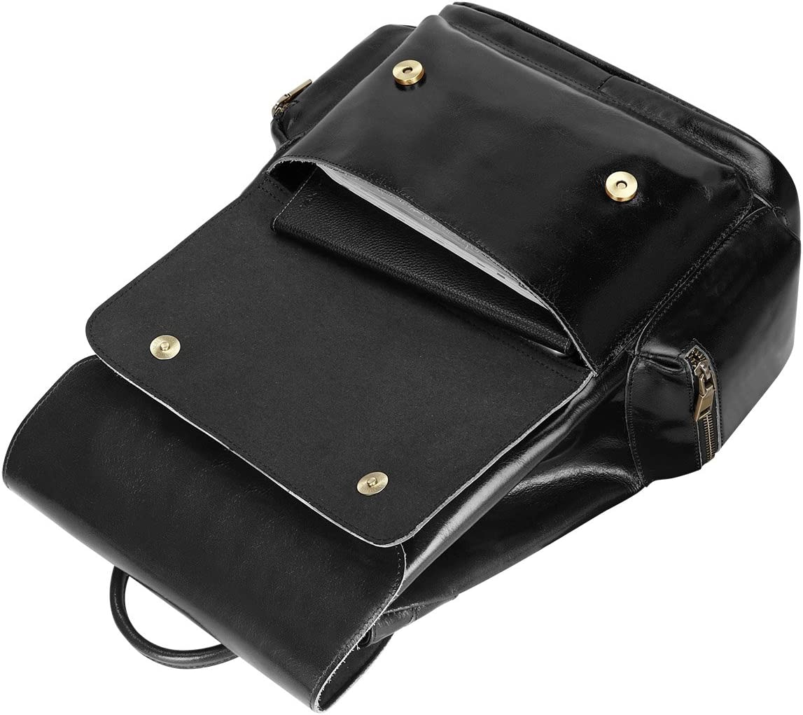 S-ZONE Womens Daily Genuine Leather Casual Backpack Bag Black