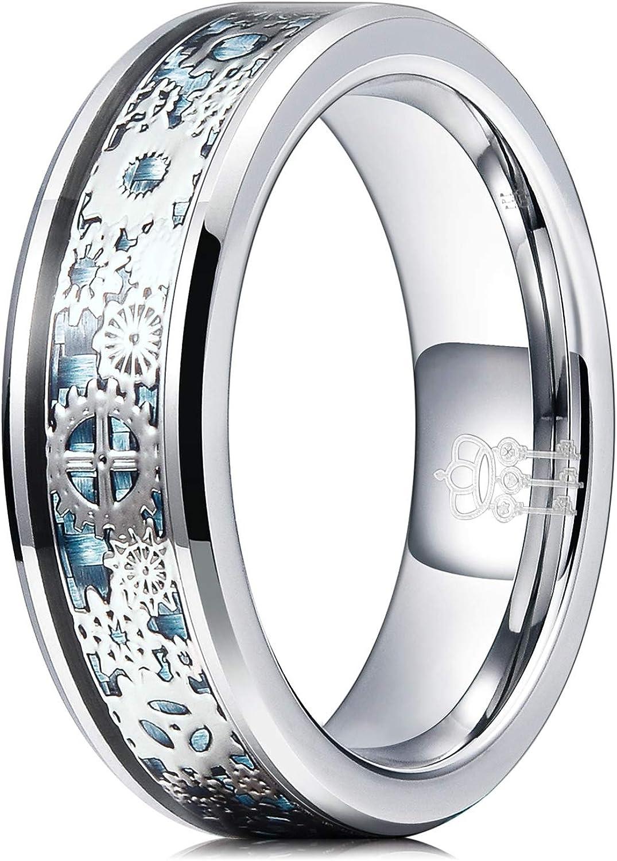 THREE KEYS 6mm 8mm Steampunk Gear Wheel Blue Carbon Fiber Deer Head Black Tungsten Wedding Ring