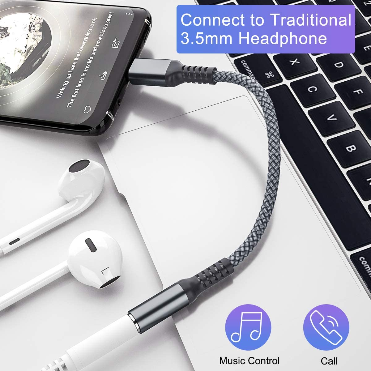 ,Type C Male to 3.5mm Female Headphone Jack Audio Converter,Aux Cable Cord for Samsung Galaxy S20 Ultra S20 2 Pack USB C to 3.5mm Adapter Note 10 10+,Google Pixel 4 4a 3 2 XL,iPad Pro 11 Plus 20 20