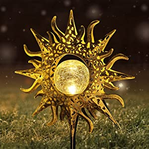 Solar Lights KLMNDUO Sun Solar Lights Garden Outdoor Decorative, Stakes Cracked Glass Globe Garden Lights Solar Powered Waterproof Metal Decorative Stakes for for Lawn,Patio or Courtyard