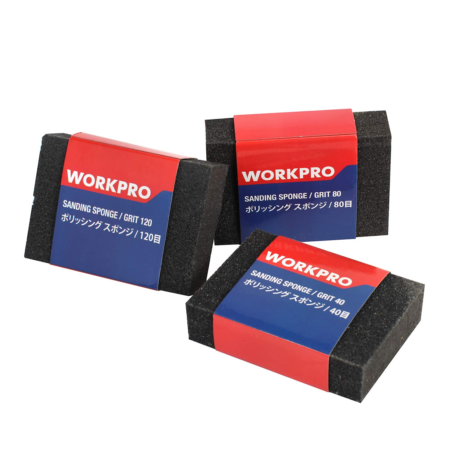 Metal Sanding for Wood Furniture Finishing Paint Finishing WORKPRO 24-Piece Sandpaper Combo Kit 80-600 Grit Sandpaper holder Included with Sand Sponges 40//80//120 Grit and Sanding Block