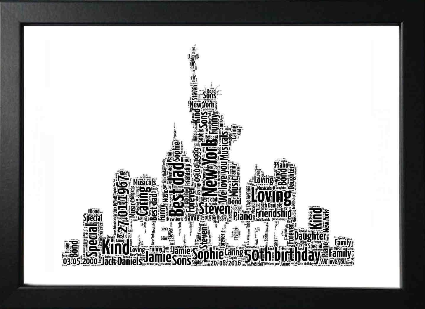 Engagement  or any Occasion New York City Skyline Personalised Word Art Print