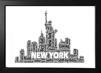 UPK Gifts Personalised New York Skyline Print Gift Word Art Best Friend Valentines Day Teacher Bridesmaid