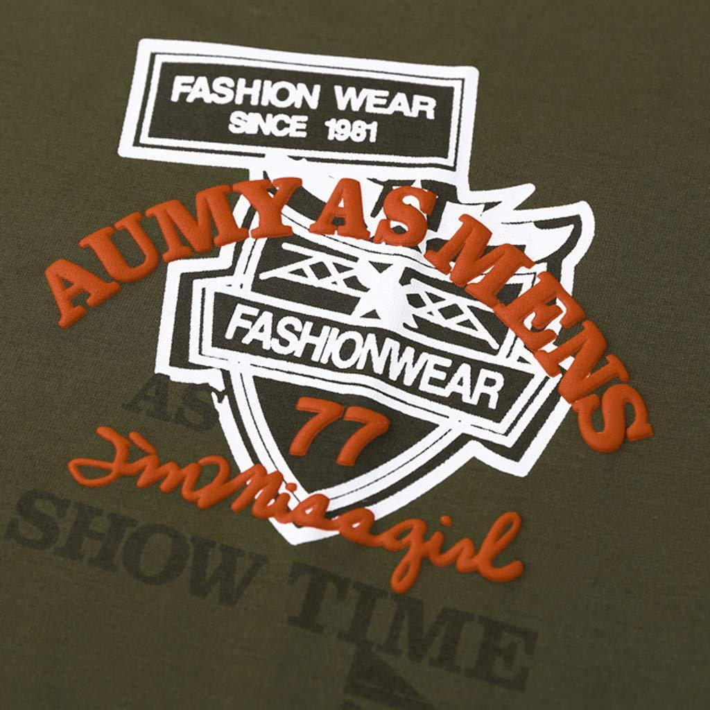 Ciyoon Mens Casual Short Sleeve Fashion Casual Basic Spring Summer New Printing O-Neck Short Sleeve T-Shirt
