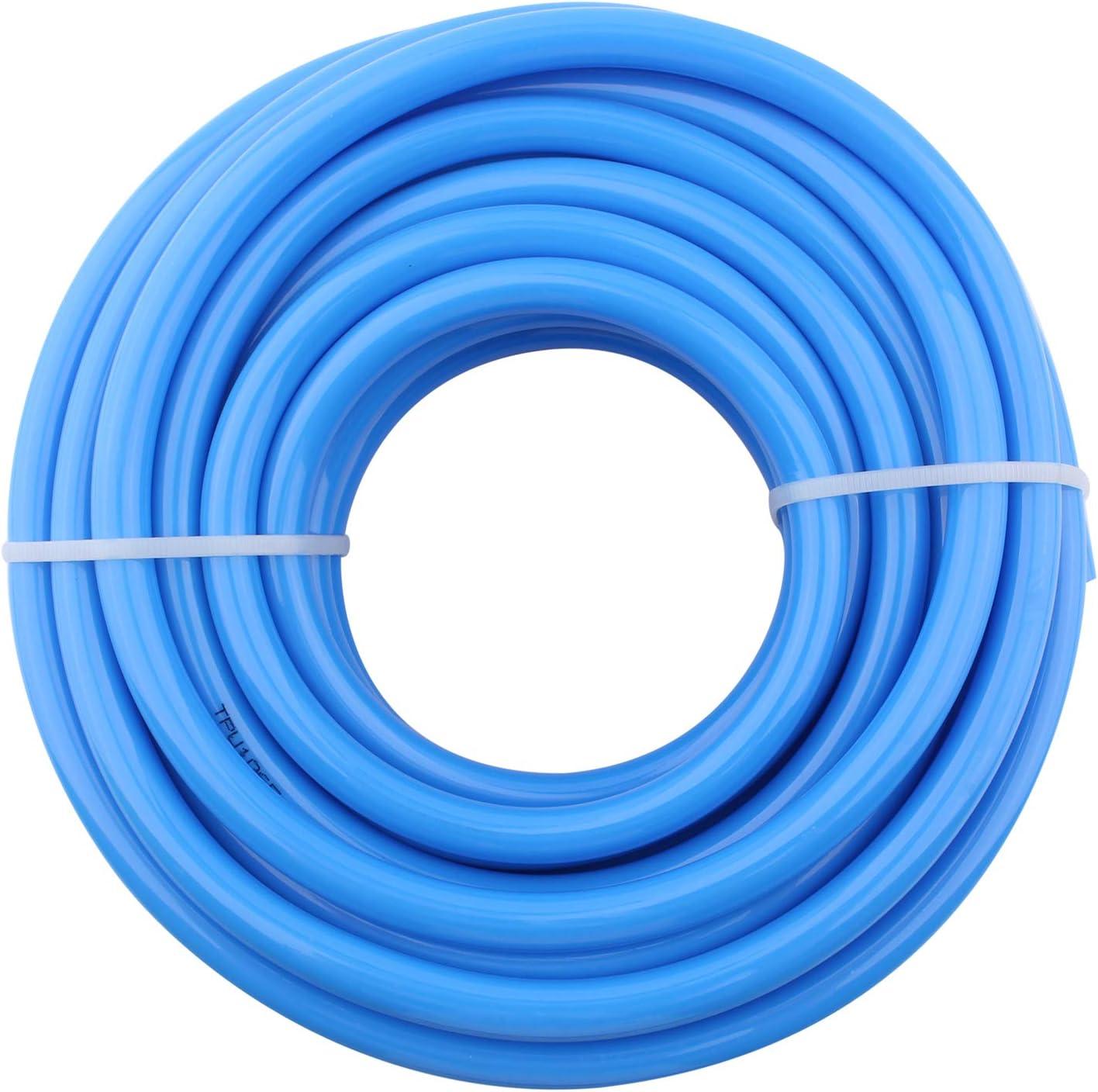 DERPIPE Pneumatic Hose 10mm OD 6.5mm ID Blue Polyurethane PU Tubing Air Compressor Pipe 10Meter (32.8ft)