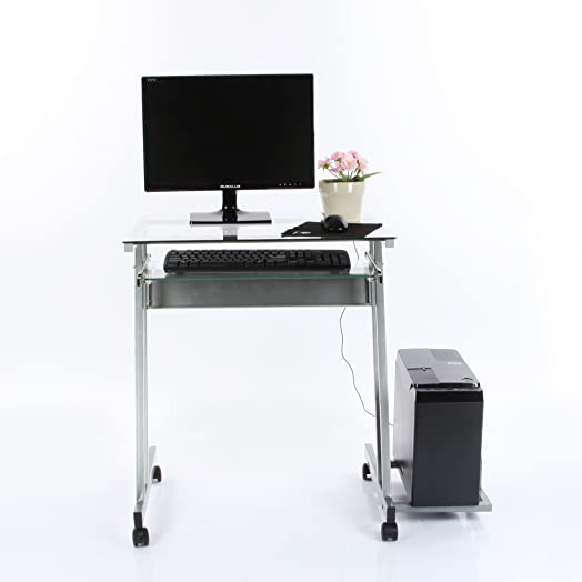 VECELO Mobile Computer Office Desk Table Transparent