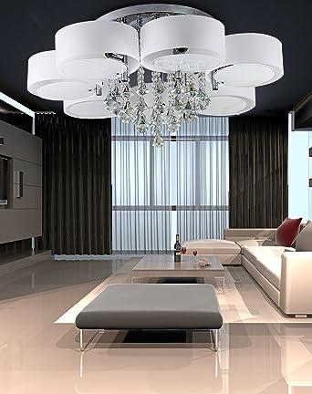 LED Deckenleuchte Designer Deckenlampe 7 Flammig Kristall Modern Wohnzimmer Lampe E27 90cm