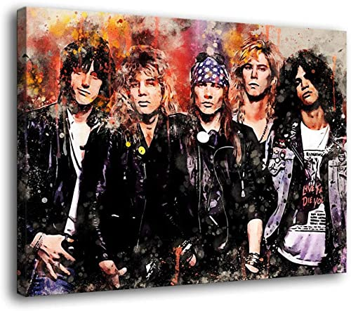 YUANZHIG Guns n Roses Watercolor Art Decorative Painting Poster Art Canvas Print Home Decor Paintings Wall Art Pictures Posters Presents Bedroom