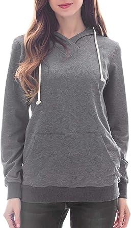 Smallshow Womens Maternity Nursing Hoodie Long Sleeve Breastfeeding Sweatshirt
