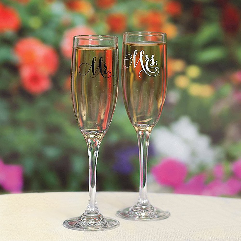 All Things Weddings, Mr. and Mrs. Wedding Glass Champagne Toasting Flutes, Reception or Engagement Bride and Groom Glasses, Set of 2 by All Things Weddings (Image #3)
