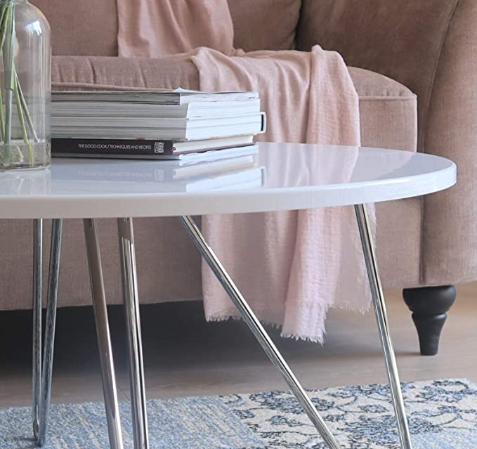 Cm H Aspect Happer Round Wooden Coffee Table With Hairpin Legs