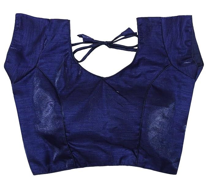 PEEGLI Blusa Sari De Mujer India Blusa Acolchada con Estilo De Choli Cosido Blusas