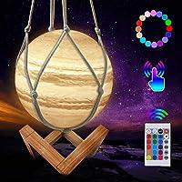 CoMokin Nuevo Lámpara de Luna 3D 16 Color LED Recargable Luz Júpiter, 15cm Lampara Júpiter con Soporte de Madera y red…