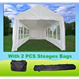 30'x10' PE Tent White (PE3010) - Wedding Party Tent Canopy Carport - with Storage Bags - By DELTA Canopies