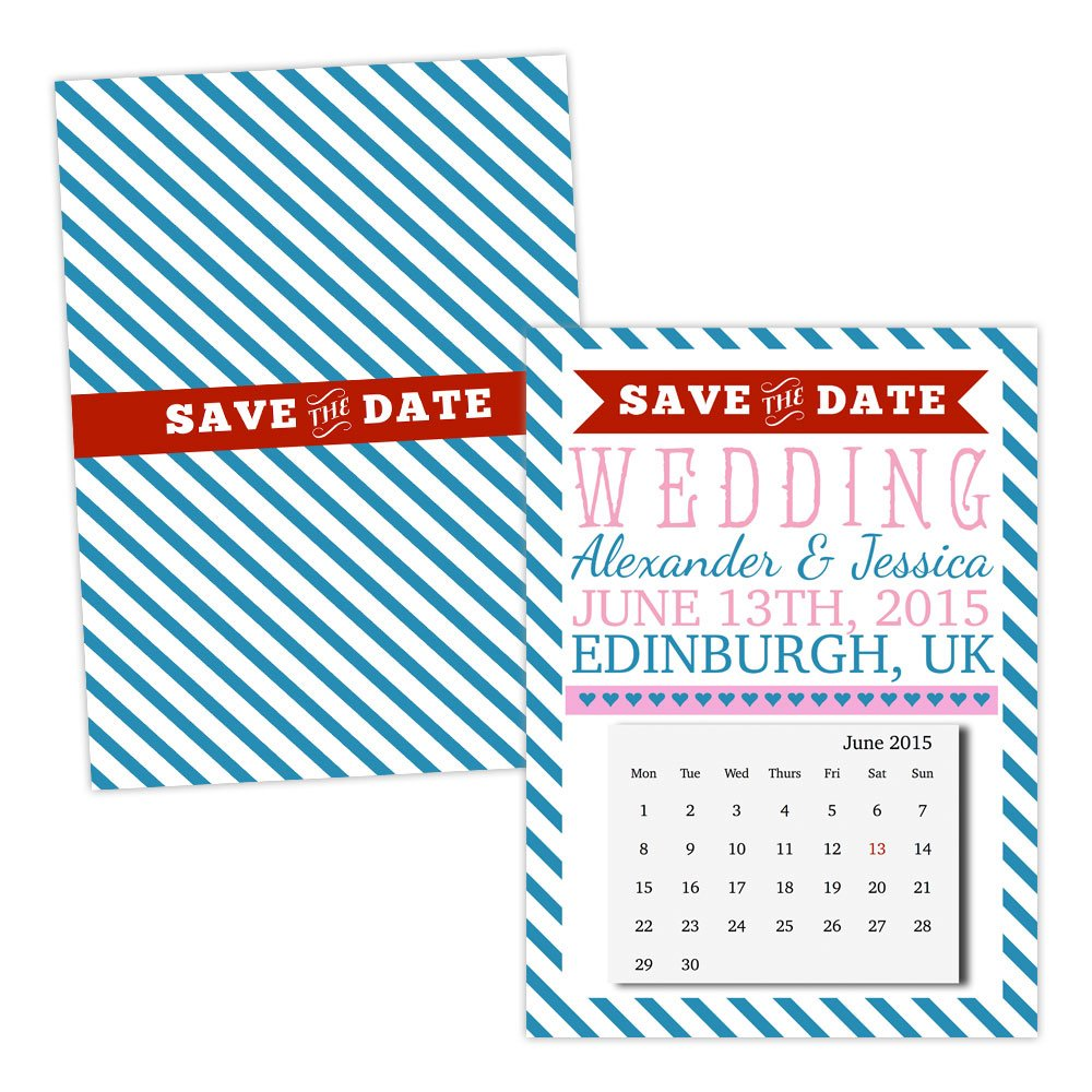A5 double-sided Silk card Made by Mika Personalised Save the Date cards blueE CANDY STRIPE CALENDAR FREE DRAFT & FREE ENVELOPES (200, A5 double-sided Silk card)