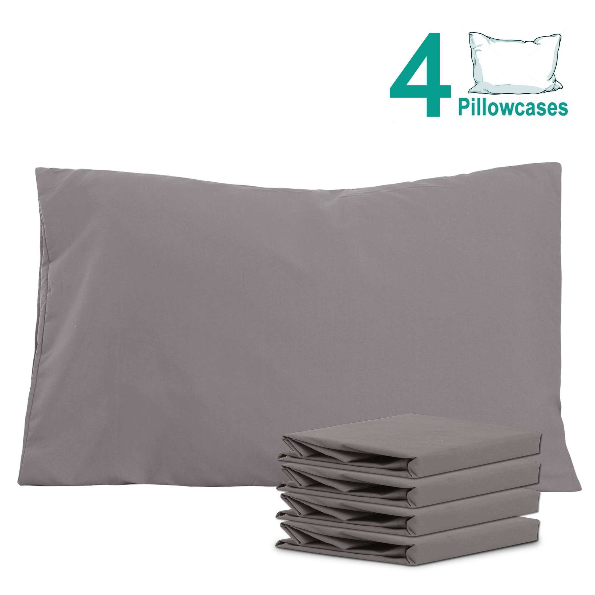 NTBAY 100% Brushed Microfiber Pillowcases Set of 4, Soft and Cozy, Wrinkle, Fade, Stain Resistant, 20''x 30'', Dark Grey