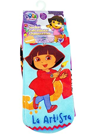 3 Pair Assorted Dora the Explorer Artista Socks (Size 5-9) - Dora