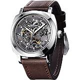 BENYAR - Reloj de Pulsera automático para Hombre | Pulsera de Cuero | Movimiento Dorado | Dial Esqueleto de 45 mm…