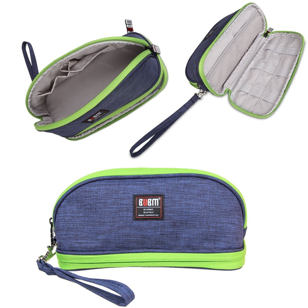 Makeup Bag /BUBM Double Layers Travel Cosmetic Pouch,Small Portable Toiletry Kit Organizer with Handle,Waterproof (Blue)