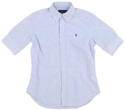 2f86c2d0cd RALPH LAUREN Polo Women's Short Sleeve Slim Fit Oxford Shirt, Blue/White, X