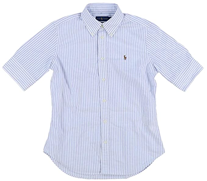 RALPH LAUREN Polo Women s Short Sleeve Slim Fit Oxford Shirt, Blue White, X a739aa414793