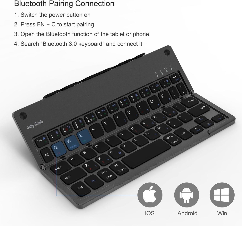 Teclado Bluetooth plegable, teclado Jelly Comb portátil ultrafino ...