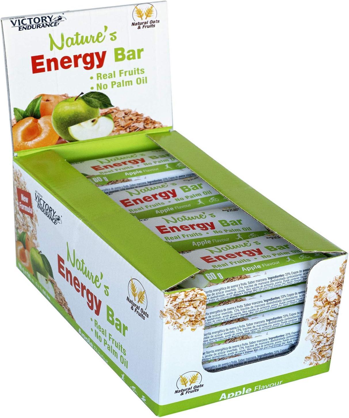 Victory Endurance Nature´s Energy Bar Manzana 60g, barrita energética con un 41% Frutas y 64% de hidratos de carbono, gran sabor y energía